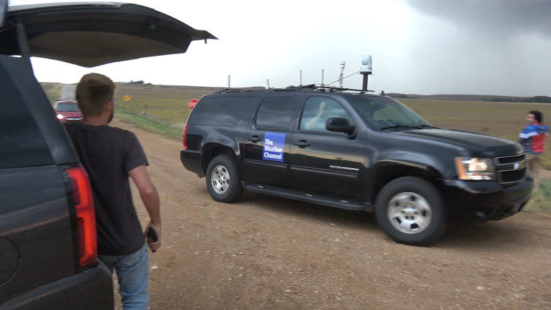 Storm Wrangler Kelley Williamson from The Weather Channel waves hello.