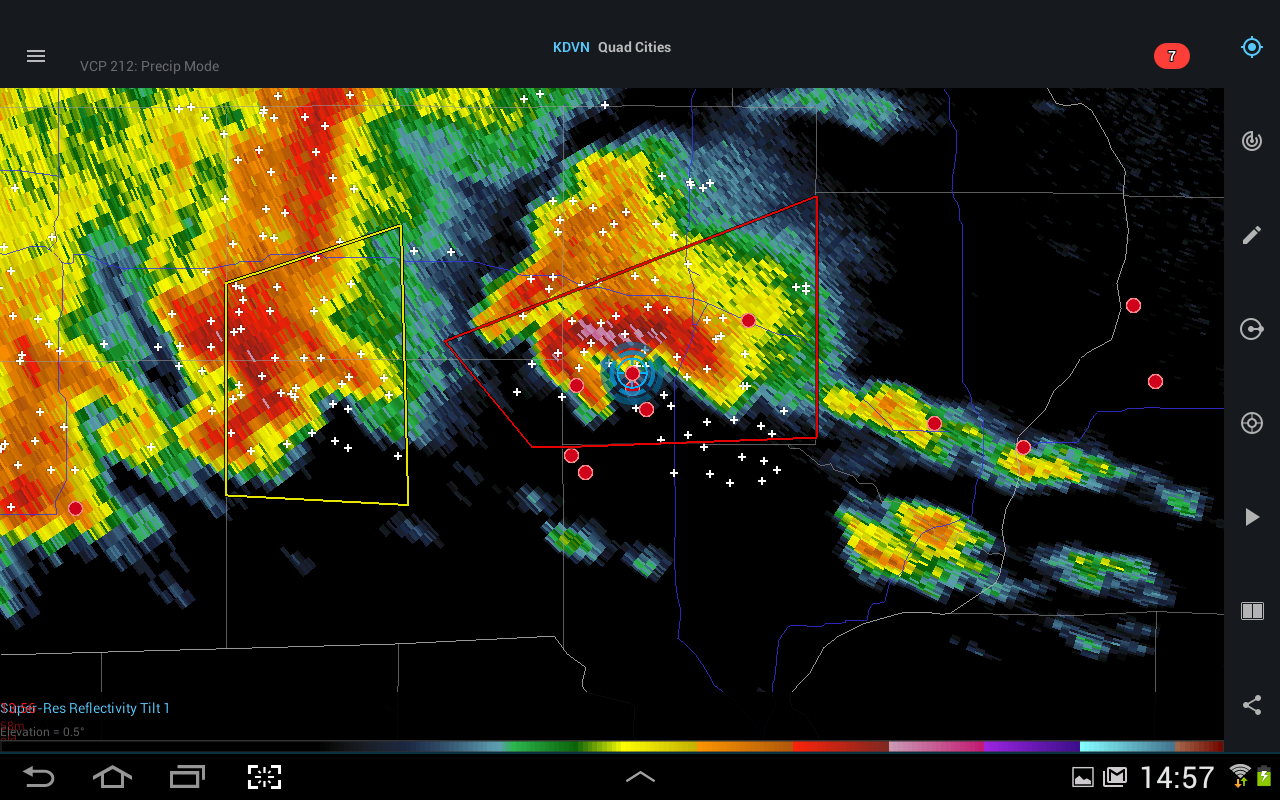 RadarScope screen capture of our position