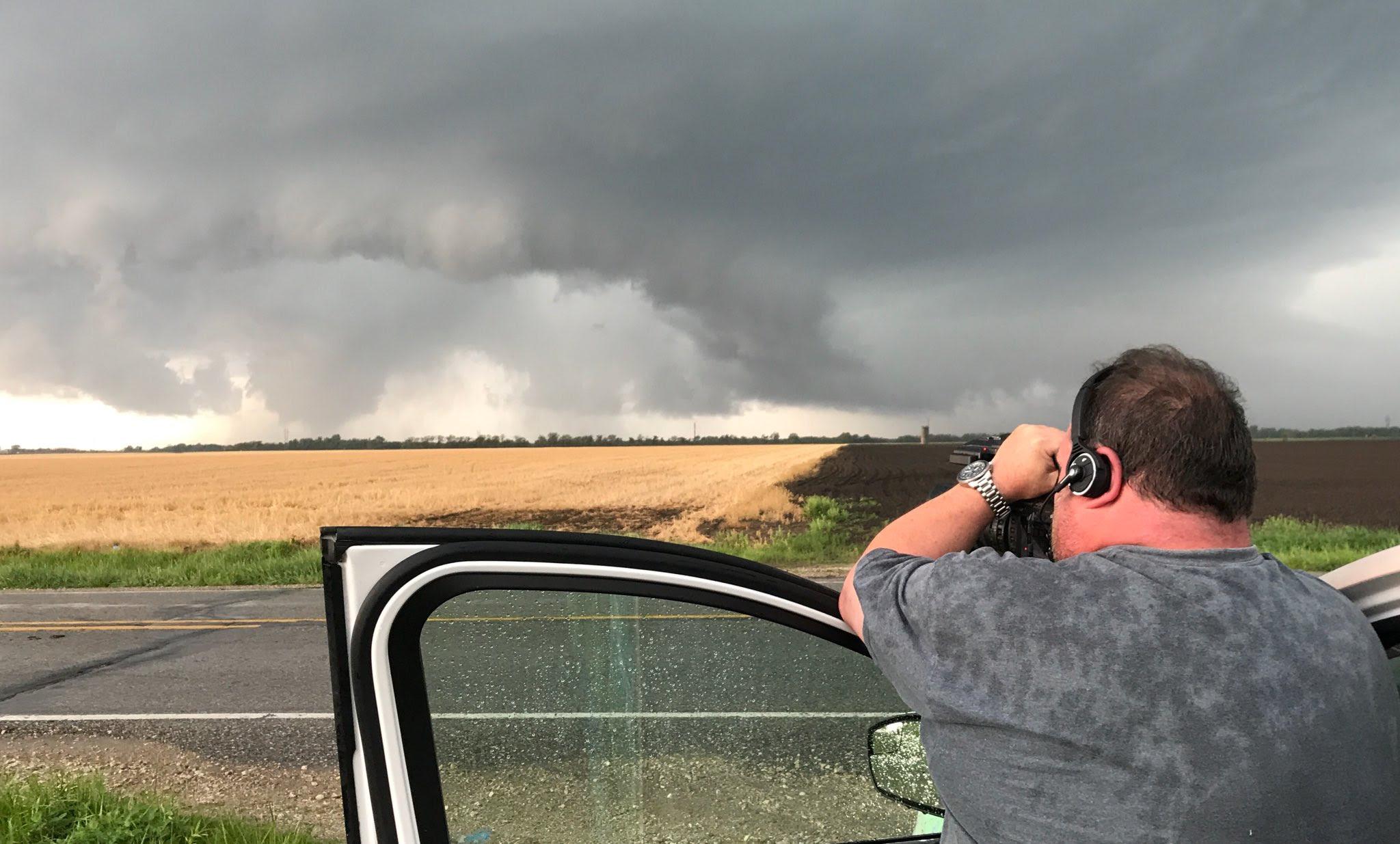 Todd Rector filming a tornado near Salem Iowa