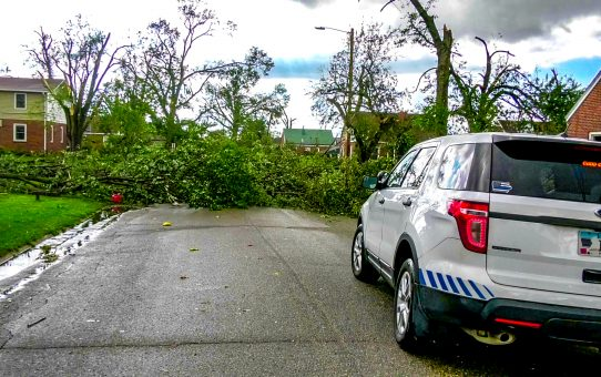 Trees block the road in front of the ISCN SUV after the Marshalltown, IA tornado on July 19th, 2018